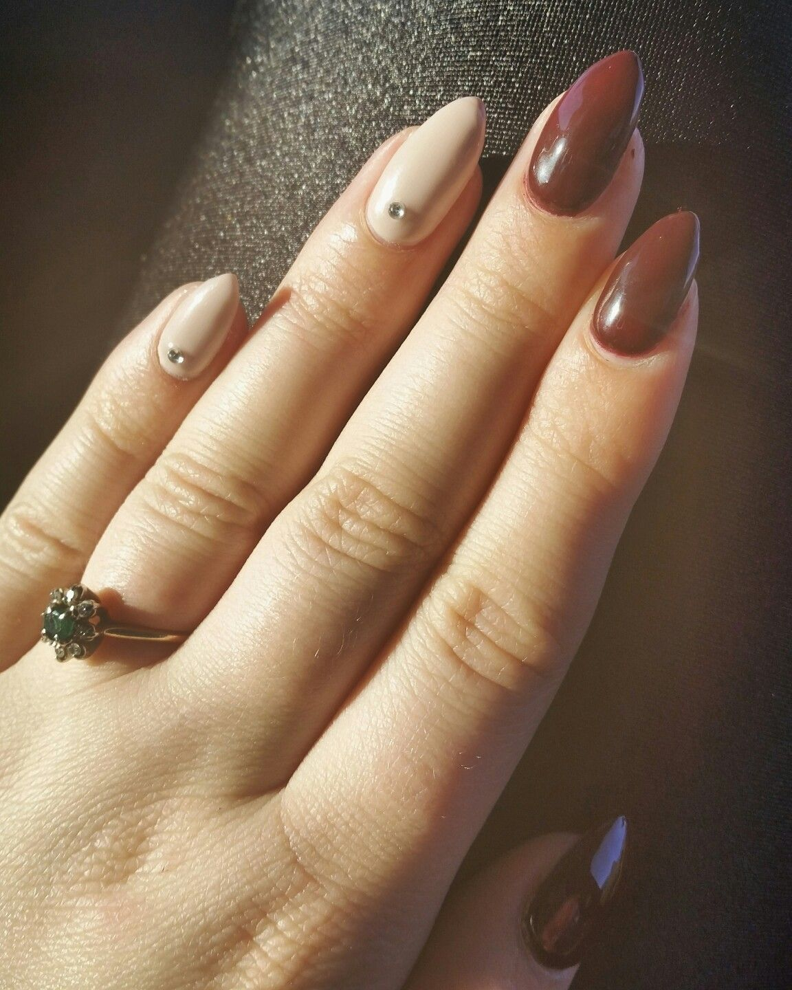 Burgundy And Nude Gel Nails. Almond Nails. Gemstone Accent