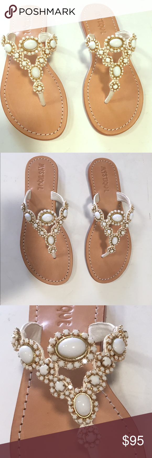 White embellished thong sandals! These sandals are the perfect sandals for any bride, especially those wanting a beach wedding! The jewels are absolutely gorgeous. Of course, anybody can wear these shoes. They are simple and classic. Brand new Mystique Shoes Sandals