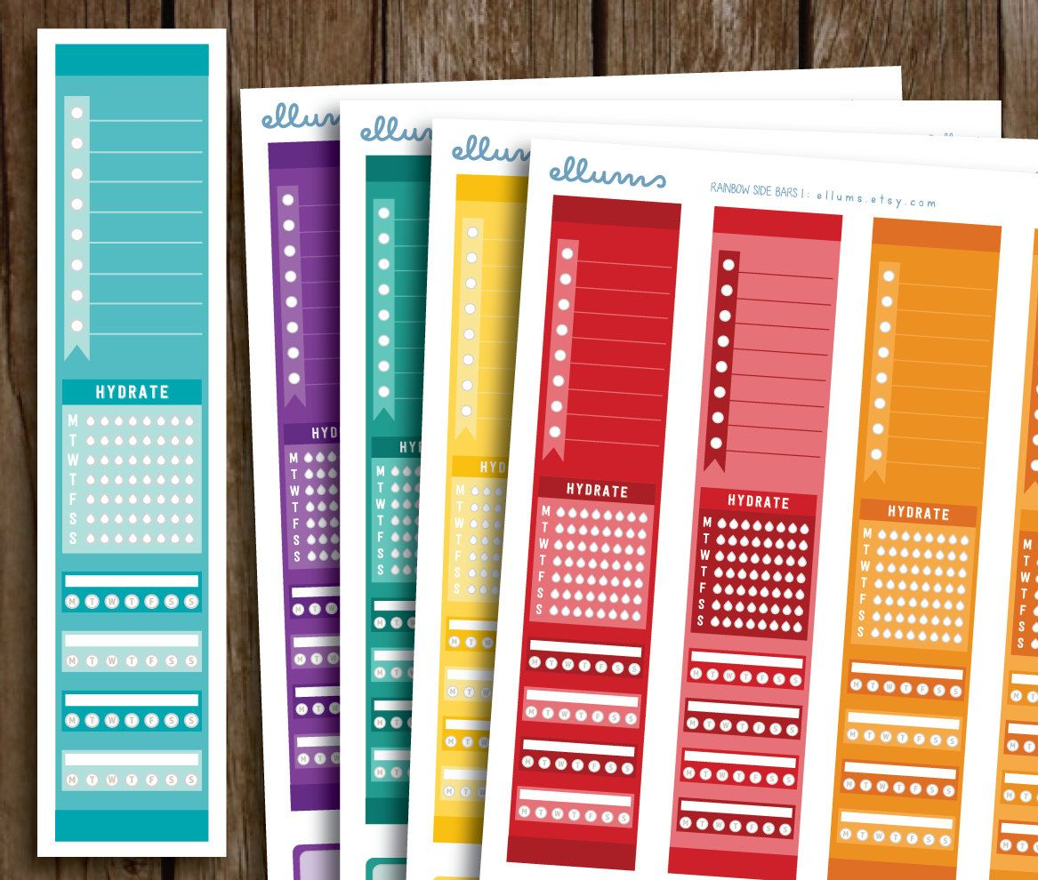 full side bar planner stickers printable instant download diy full side bar planner stickers printable instant download diy rainbow side bar stickers to do list hydrate tracker fits erin condren