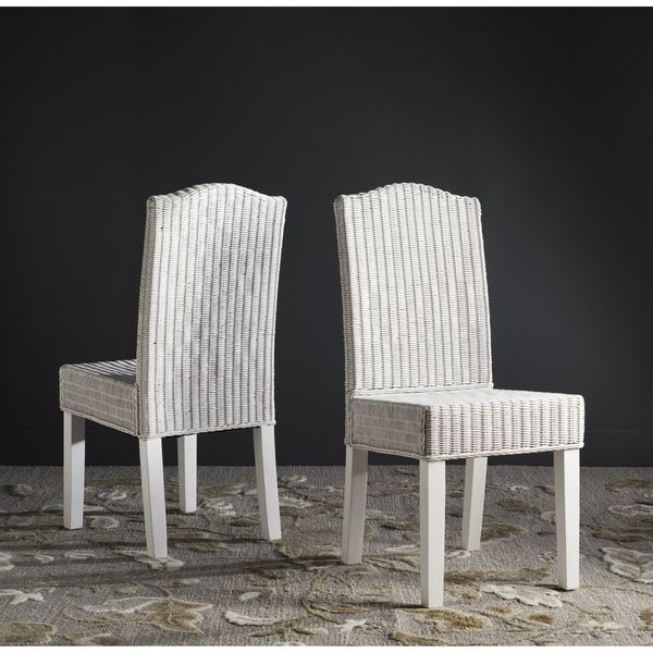 safavieh odette white wicker dining chair set of 2 new home