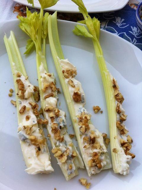 Celery, gorgonzola cheese and walnuts. Simply.