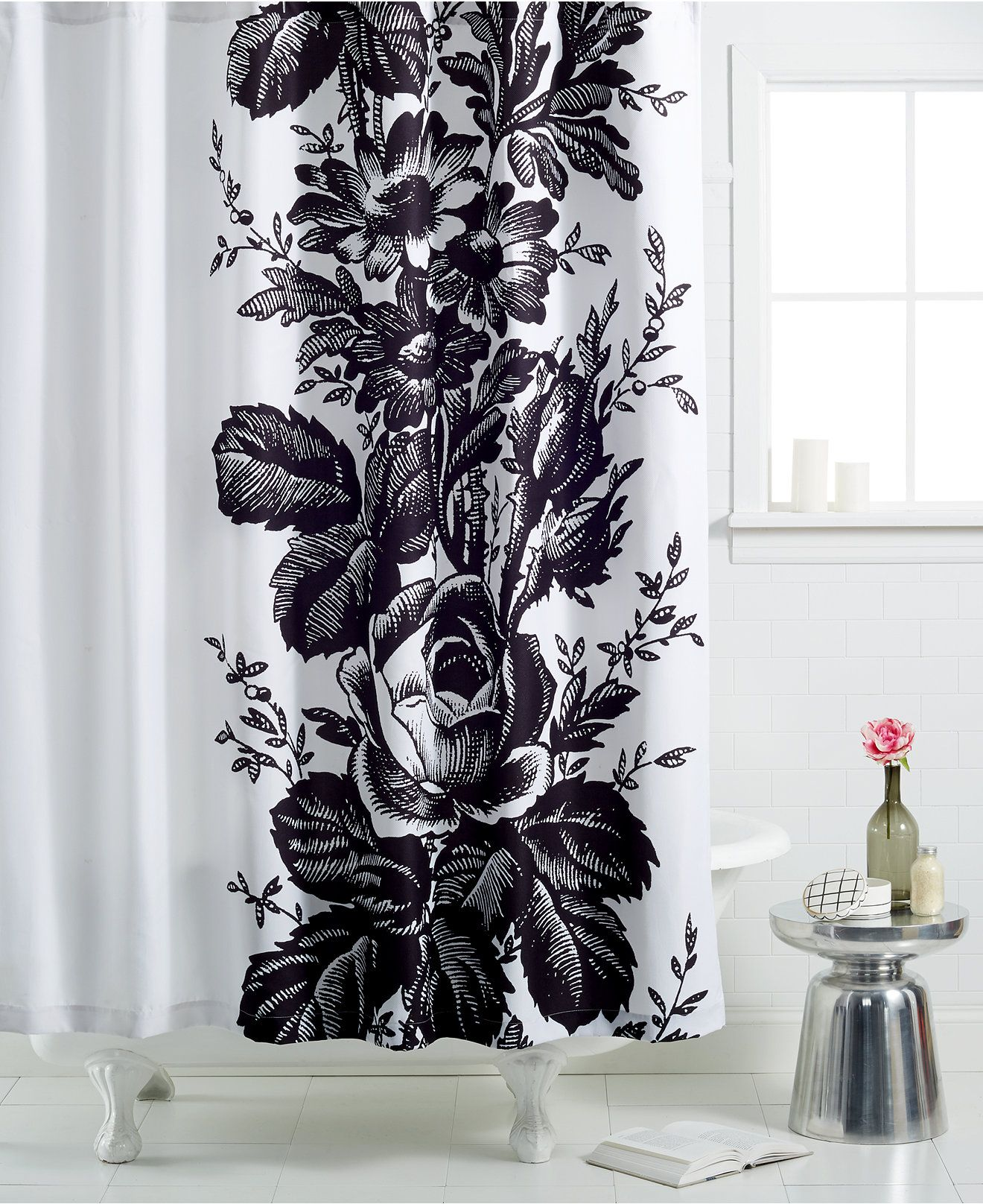 Coseout Martha Stewart Collection Madeline Toile Shower Curtain