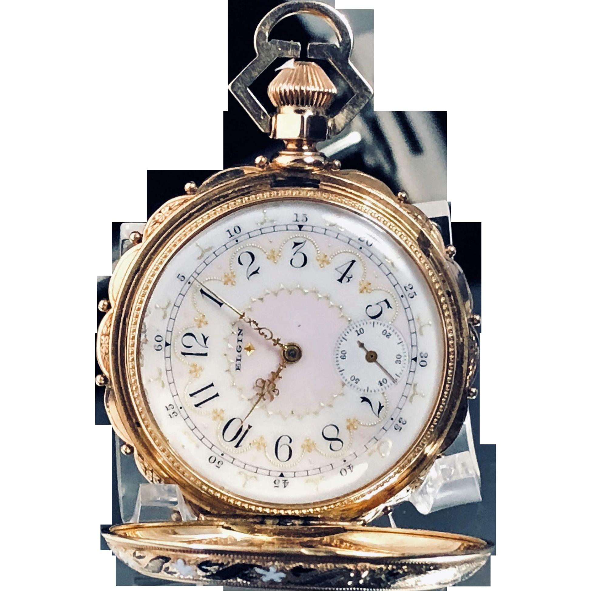 Elgin National Watch Co 14k Gold Fancy Dial Pocket Watch Circa 1883 Vintage Watches Pocket Watch Pocket Watch Antique