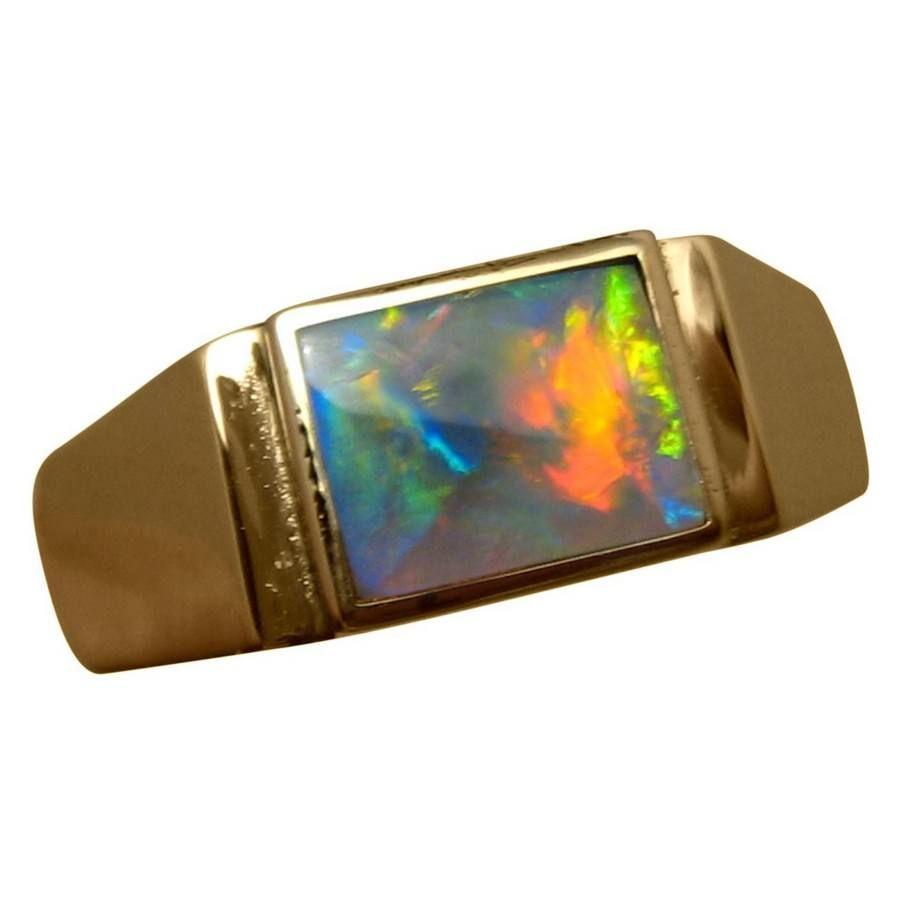 Mens Black Opal Ring 14k Gold Black opal ring Opal rings and