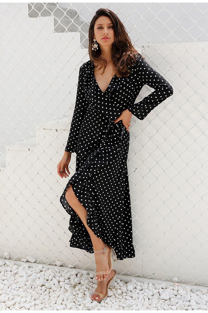 Black polka dot split long sleeve ruffle wrap long dress first