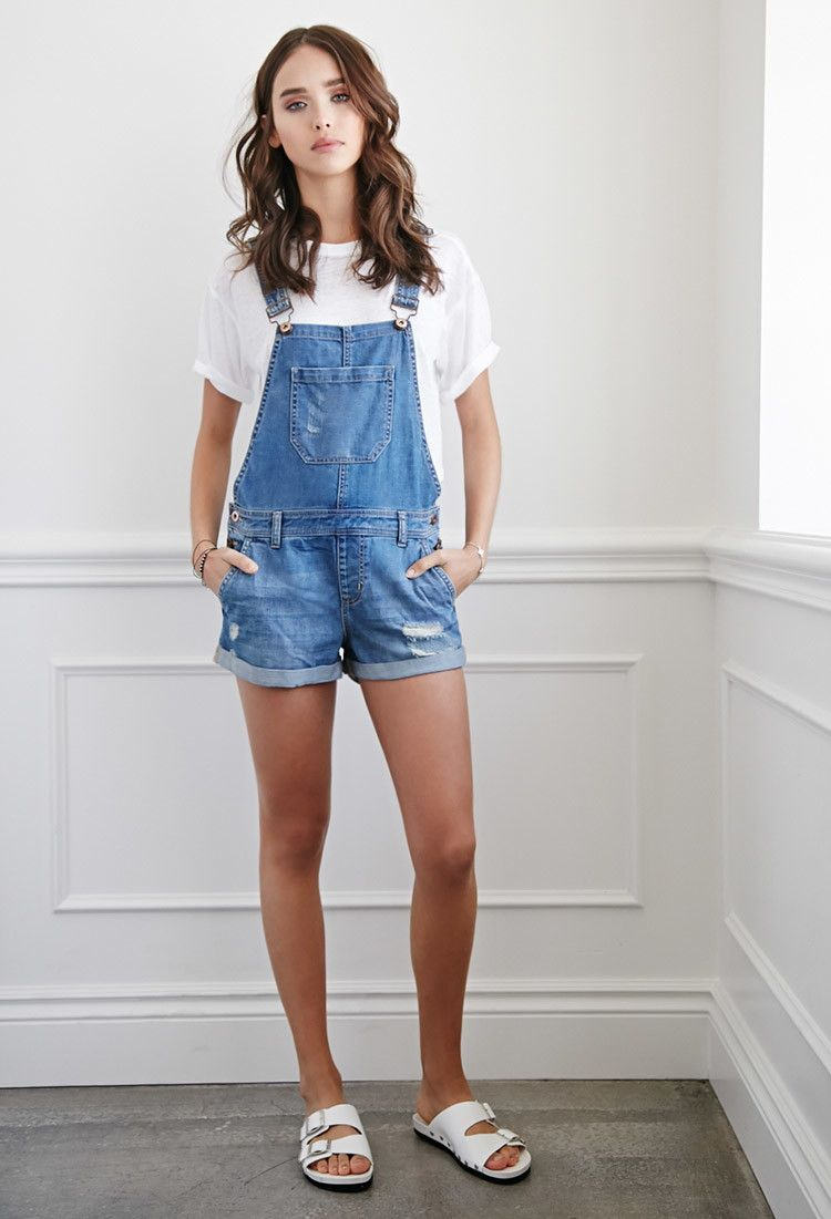Distressed Denim Overall Shorts | Forever 21 30.00 I WANT THESE SO BAD! | I n S t Y l E ...