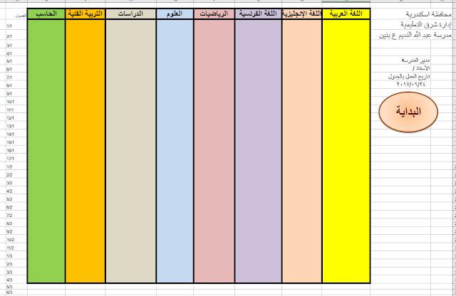 برنامج الجدول المدرسى نسخة جديدة 2018 بصيغة اكسل حملها الان School Schedule Bar Chart Chart