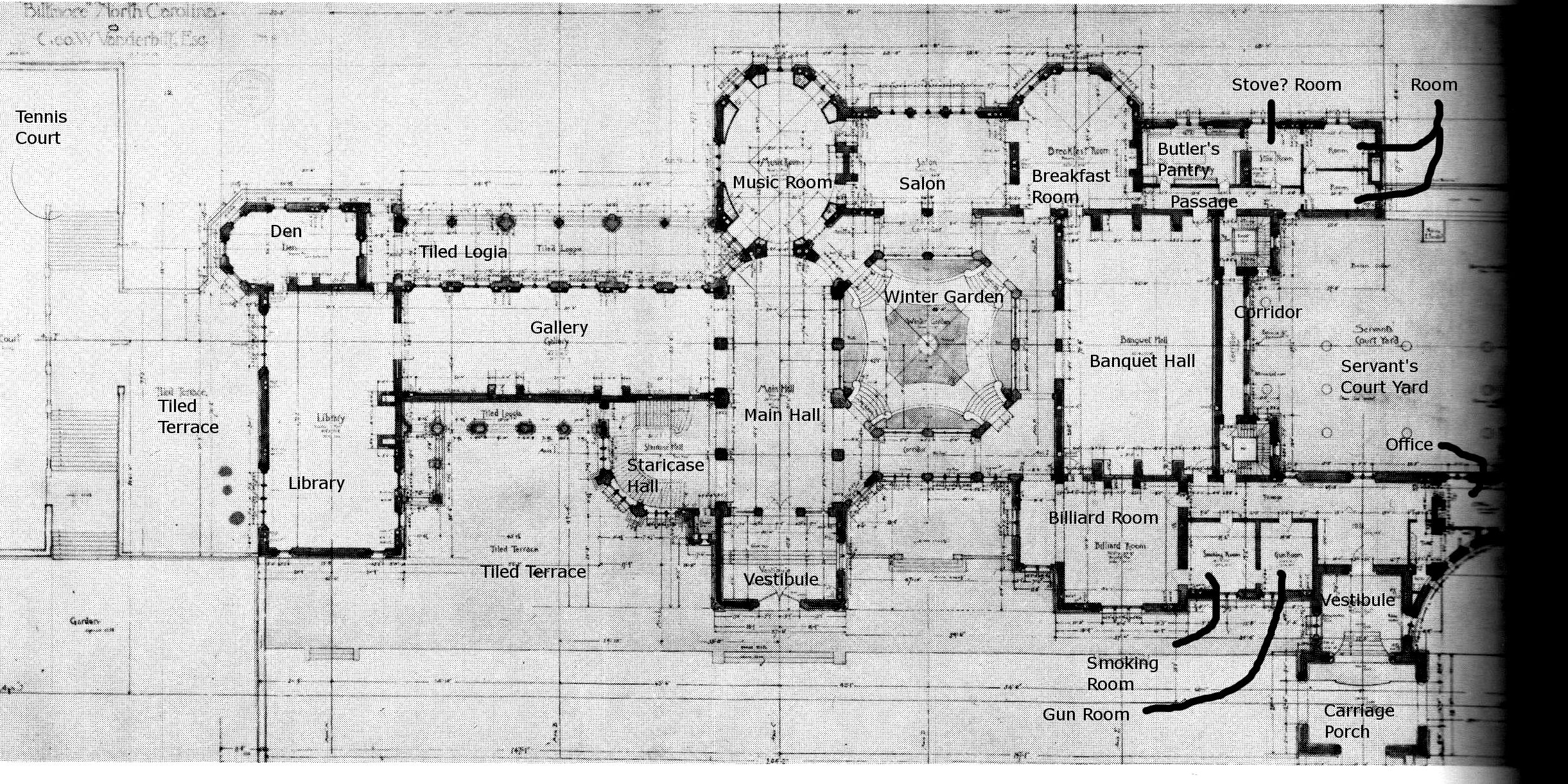 f25e5b1d10a2e4f3595c63d385900ce6 biltmore ground floor plan with details the gilded age,Biltmore House Plans