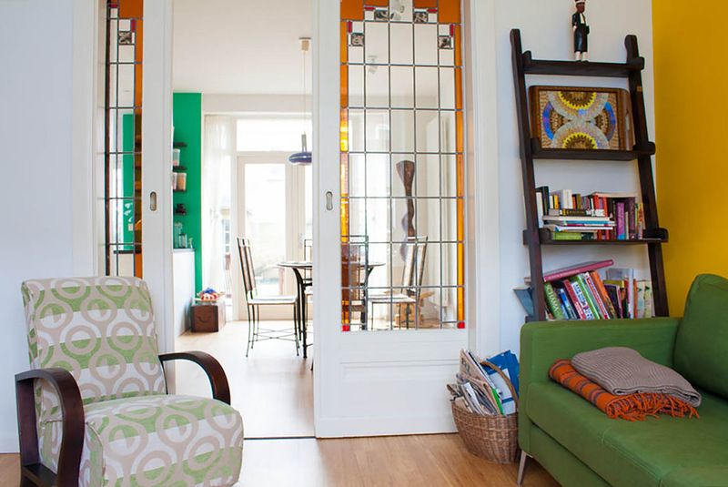 Love The Stained Glass Pocket Doors Eclectic Living Room By Louise De Miranda