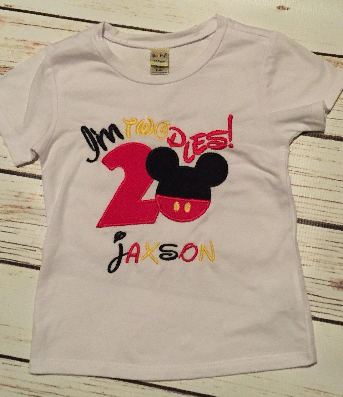 Boys second birthday shirt mickey im twodles 2nd