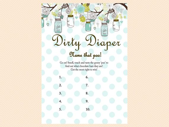 Dirty Diaper, Name That Poo, Chocolate Bar Game, Rustic, Mason Jars Baby  Shower Games Printables, Neutral, Rustic Baby Shower Games TLC16