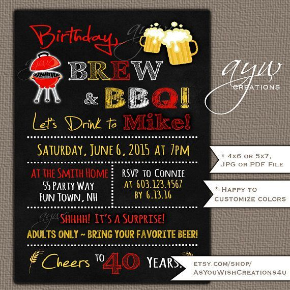 Brew And BBQ 40th Birthday Party Invitation Printable Beer Barbecue Invites 30th Invitations Bbqpartyidea