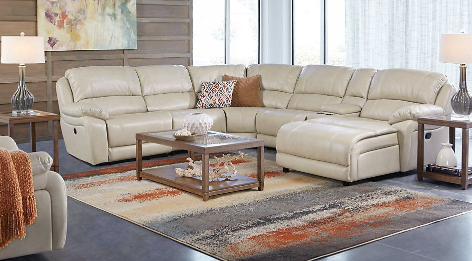 cindy crawford home hills stone 6 pc reclining sectional from furniture - Cindy Crawford Furniture