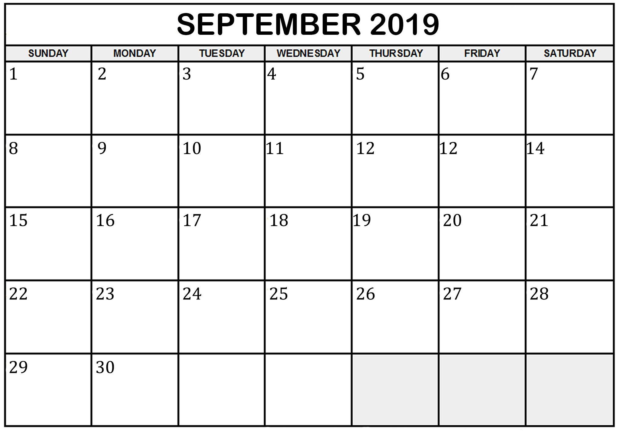 Printable September 2019 Calendar Free Printable