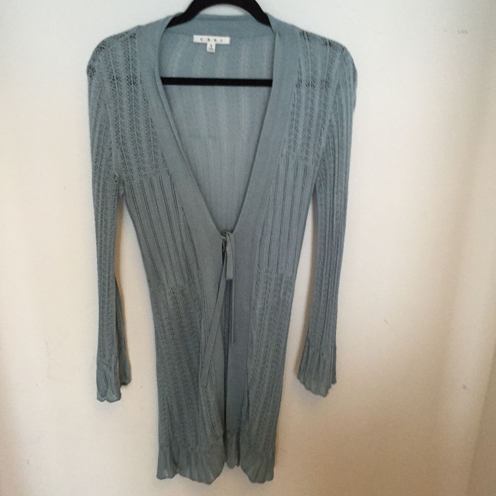 CAbi Light Blue FIne Knit Long Cardigan Duster Sweater SIze S ...