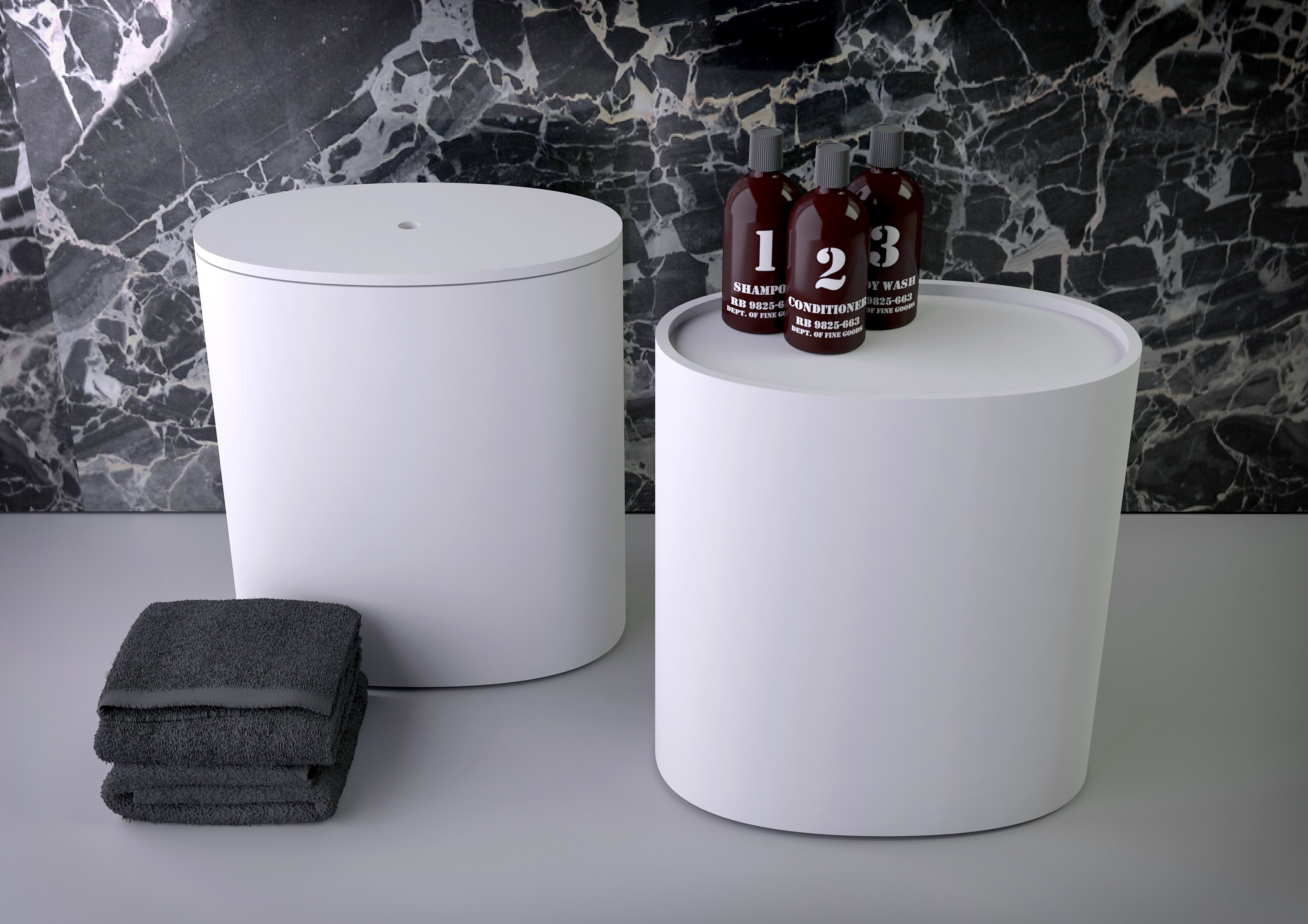 Knief Oval Stools In White Contemporary Look Modern Bathroom