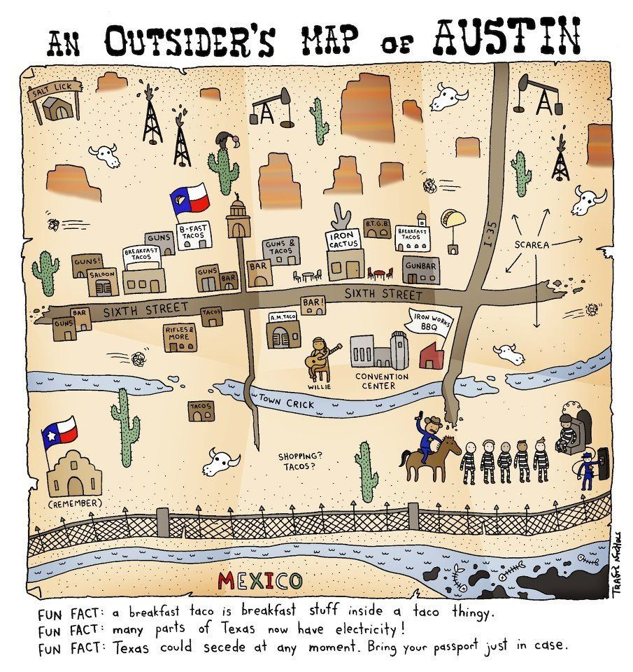 Outsiders Map Of Austin Illustrated Map Pictorial Maps Map