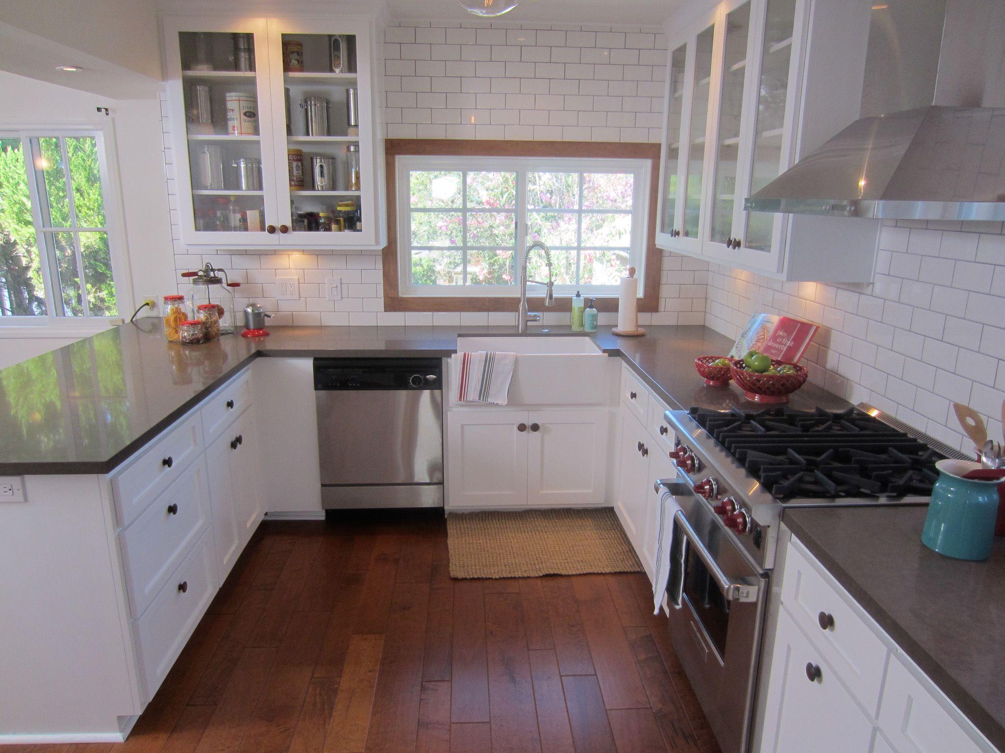 Hgtv Room Kitchen Dark Counter Top White Cabinets Wood