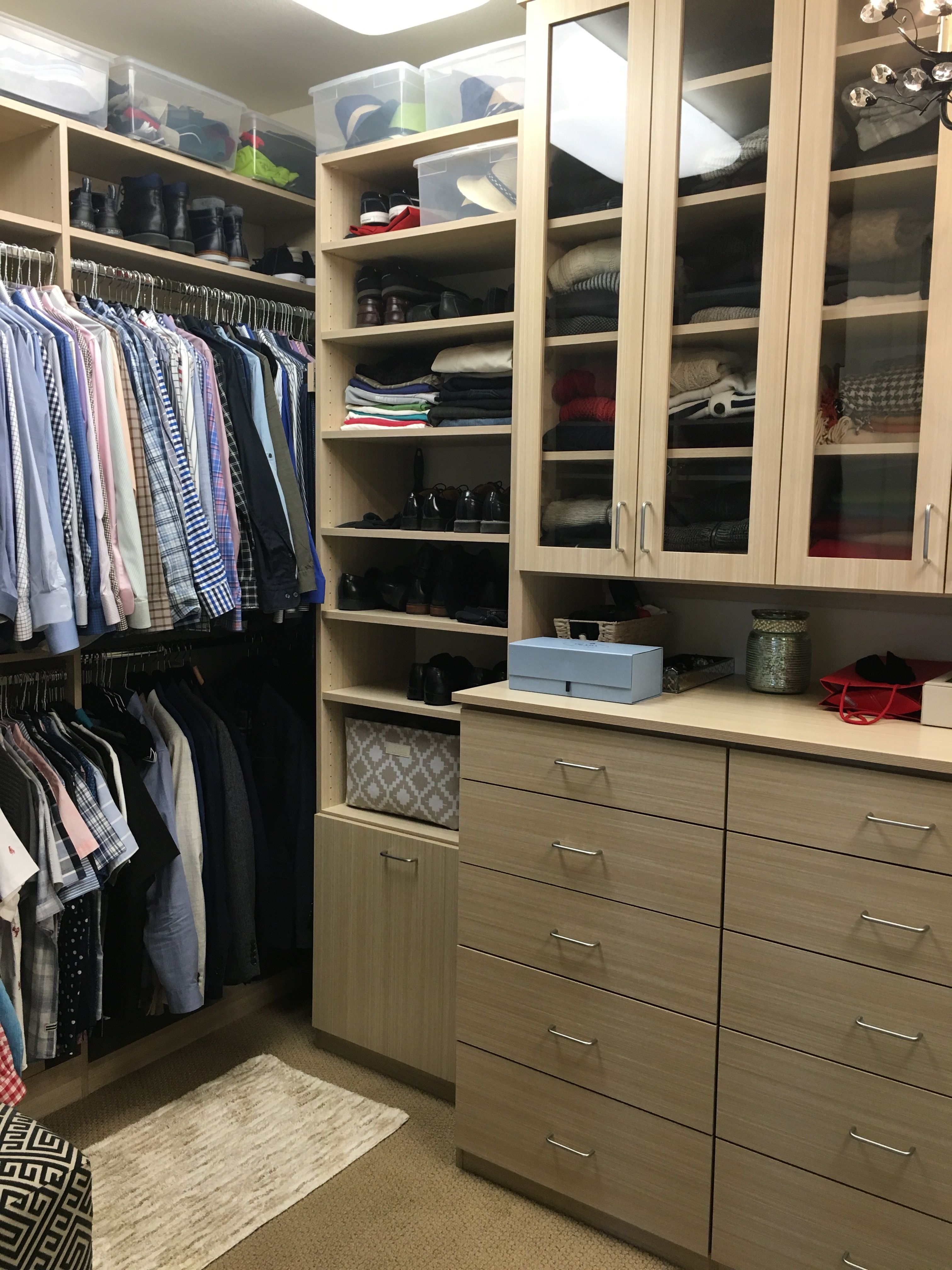 Custom Walk In Closet In Textured Wood Look American Made Melamine. Napa  California