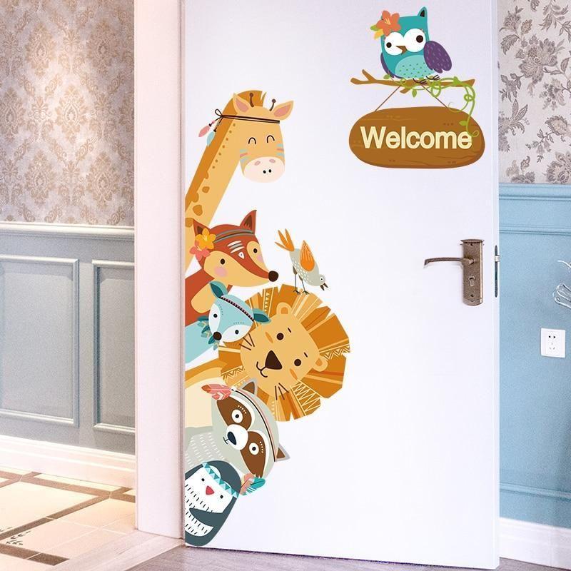 Animals Welcome Stickers Wall Stickers Kids Door Decorations