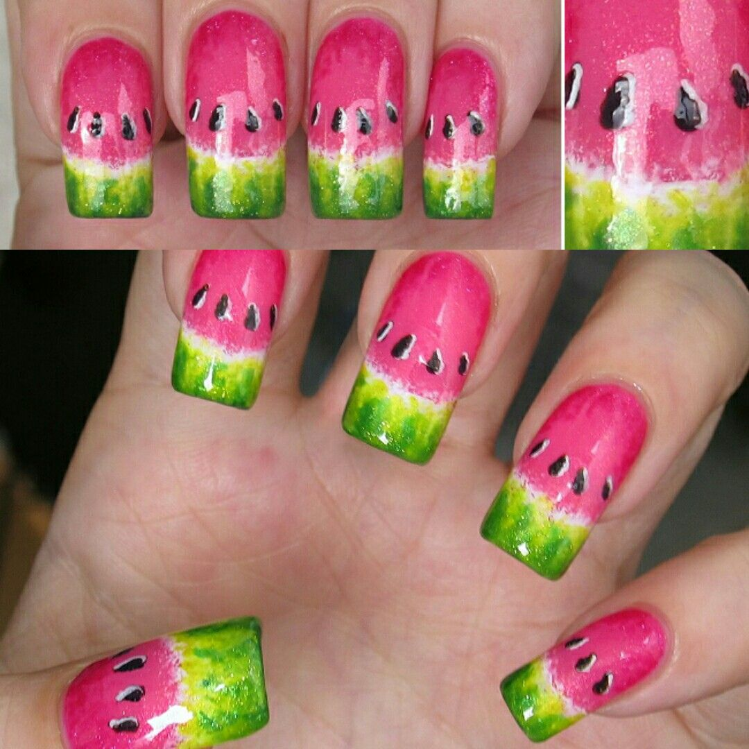 Watermelon nail art | nail designs in 2019 | Watermelon nail art ...
