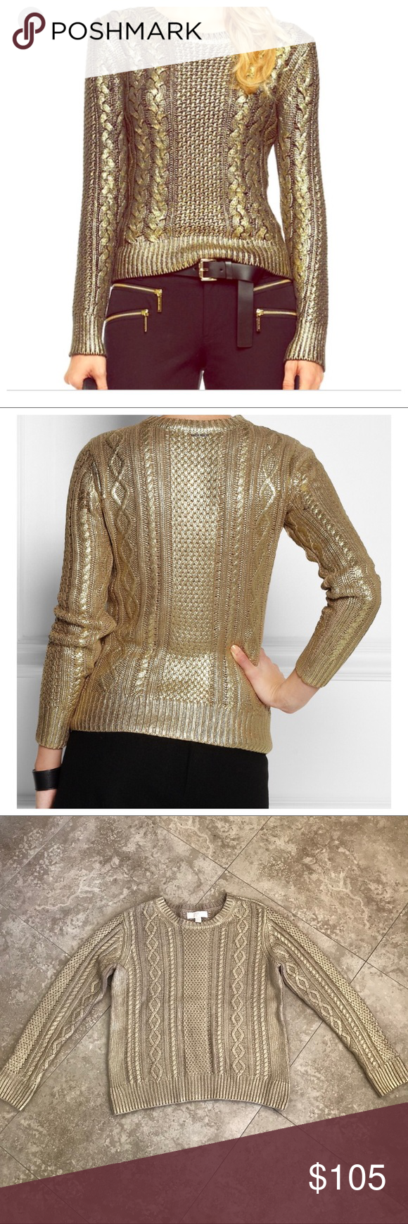 344add7634 Michael Kors gold coated cable sweater MICHAEL Michael Kors Metallic-coated  cable-knit sweater