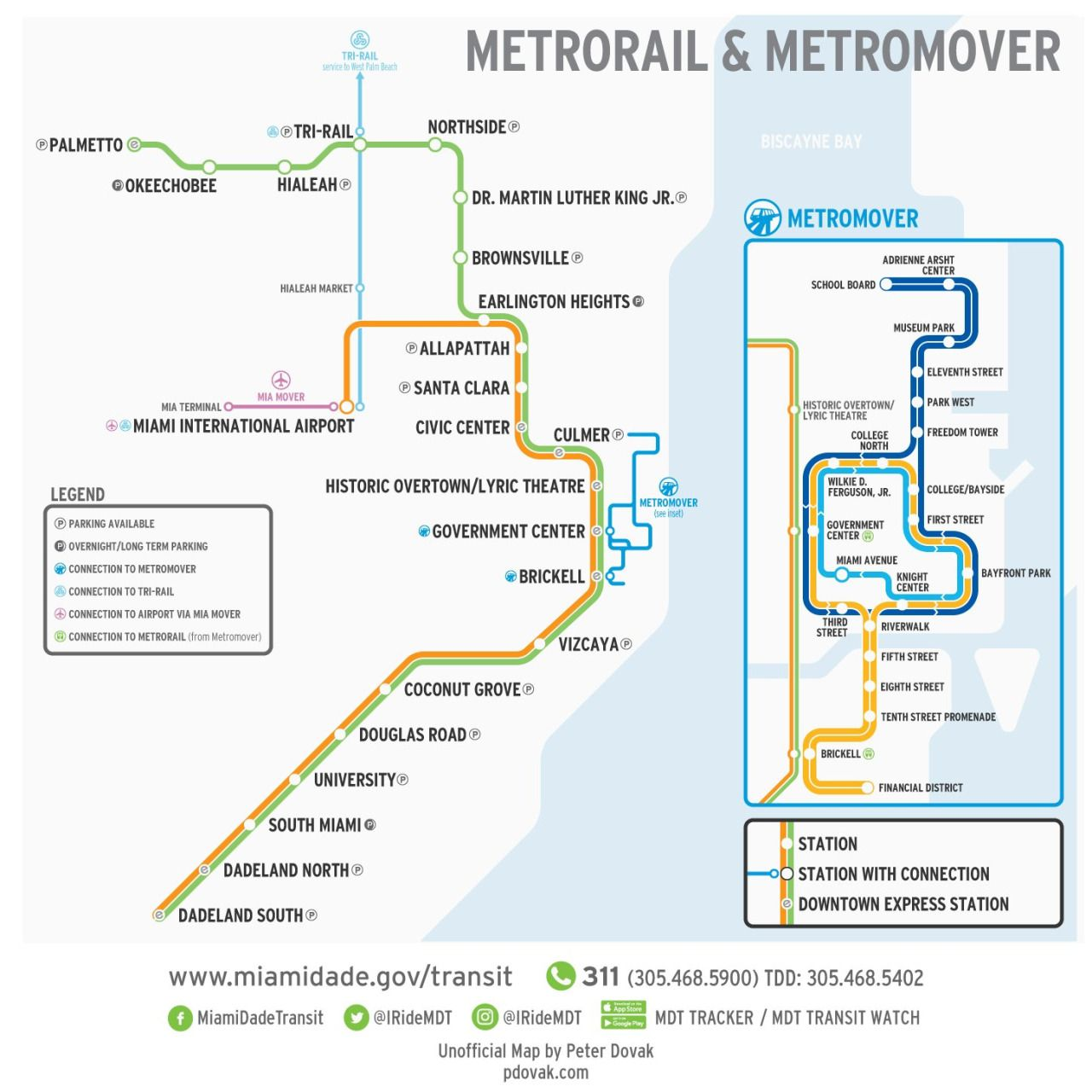 Unofficial Map Miami Dade Metrorail and Metromover by Peter Dovak