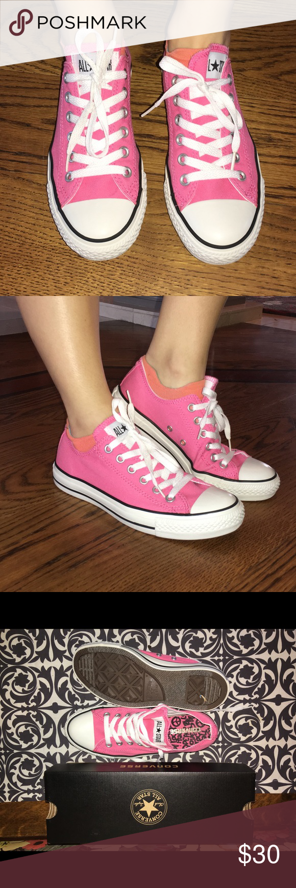 Authentic Converse Athletic Shoes! Perfect for your summer wardrobe!  Pre-owned. Do show signs of wear as shown in the pictures. Ladies size 8. Bright pink. Converse Shoes