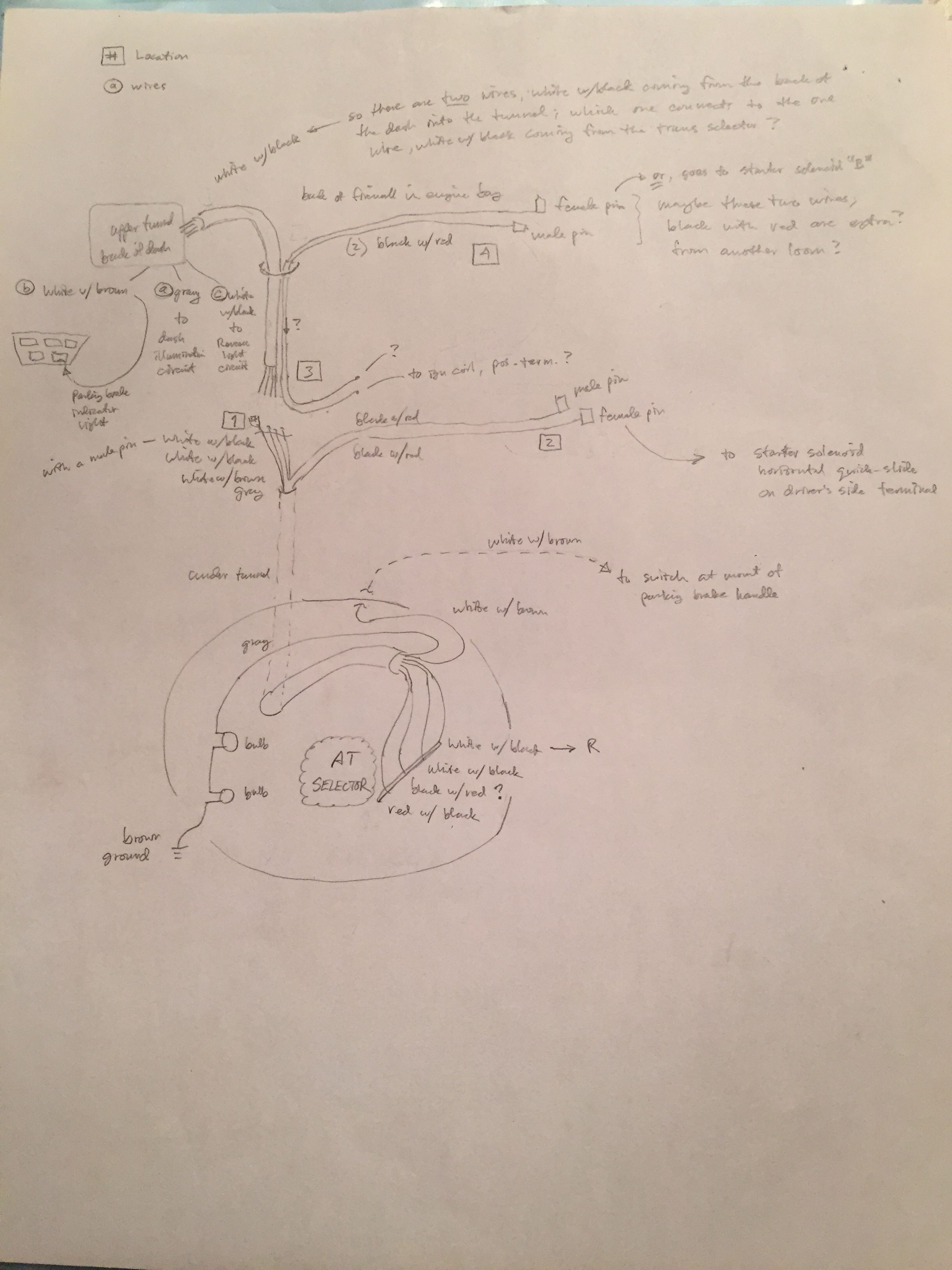 Wiring sketch for the area from the AT selector forwards