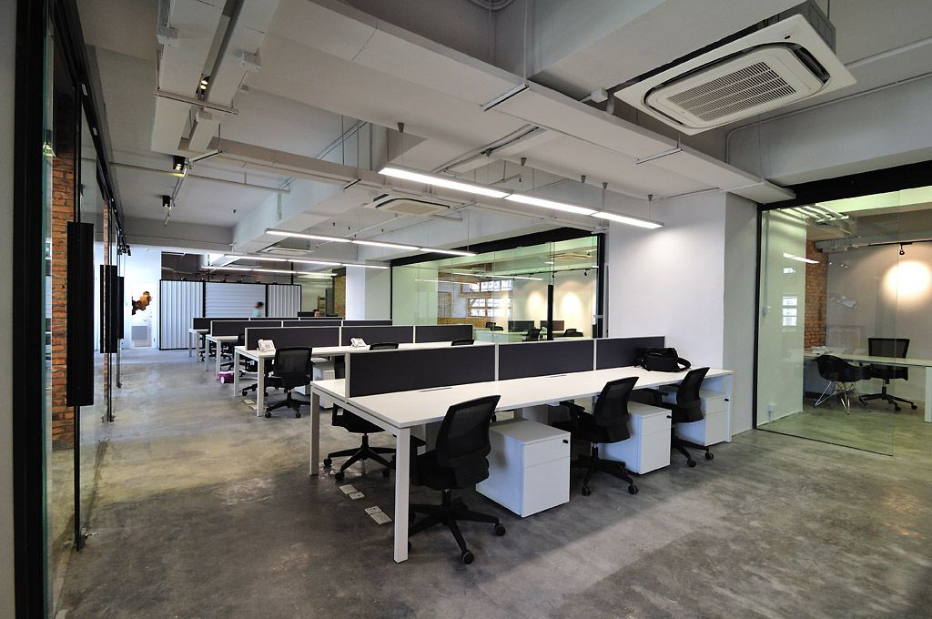 Cool raw office design open work area opal office for Office working area design