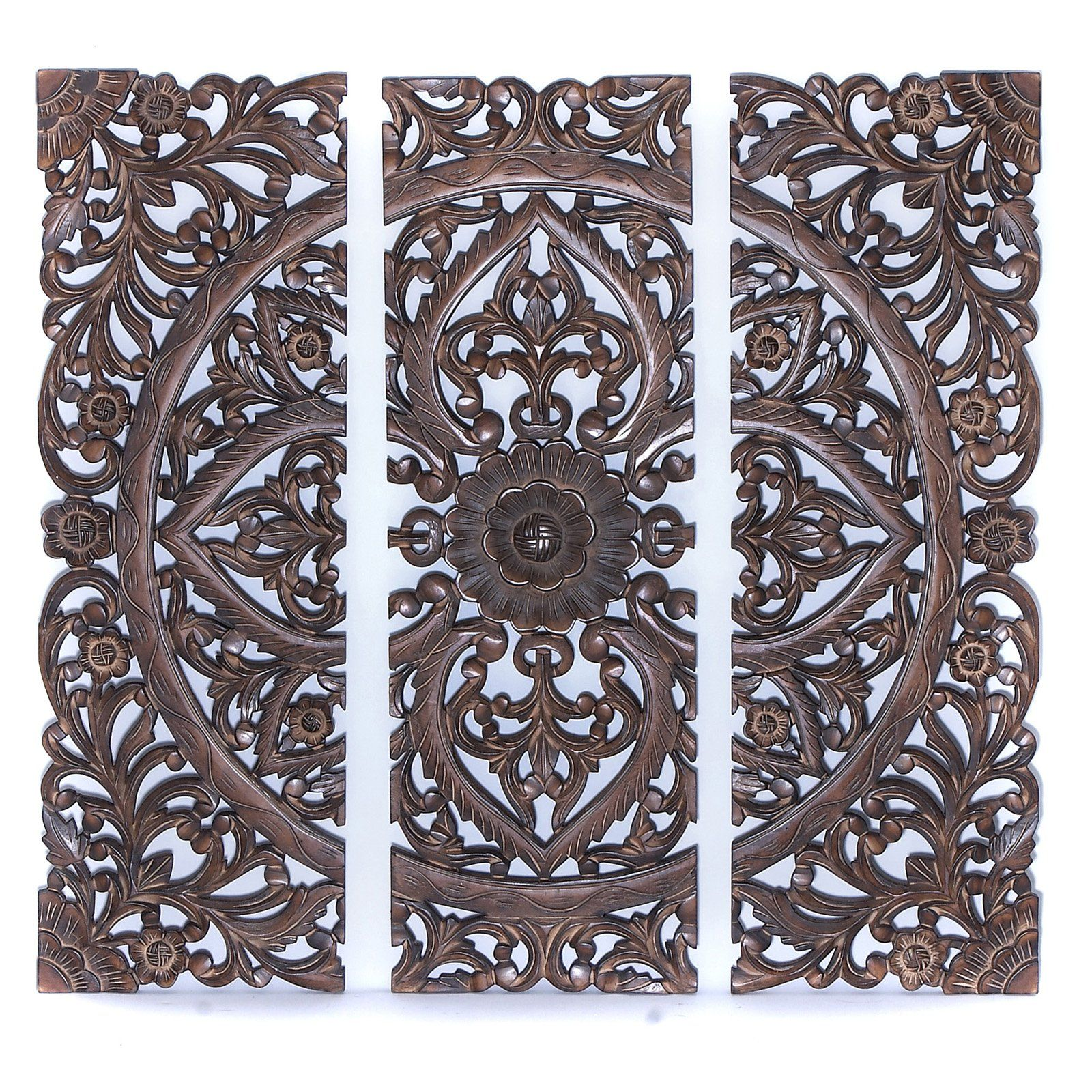 Carved Wooden Wall Plaque Set Of 3 Living Room Hallway
