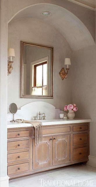 Whitewashed Cabinets Marble Counter Curved Backsplash