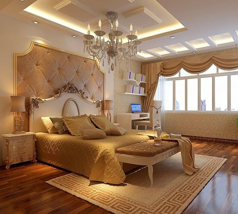 Golden Color Theme Bed Room Interior Design With Modern Concepts Interiordesign