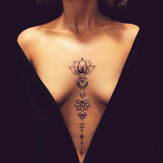 45 Hübsche Lotus Flower Tattoo-Ideen für Frauen