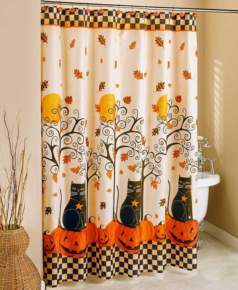 The Lakeside Collection Black Cat Halloween Shower Curtain To