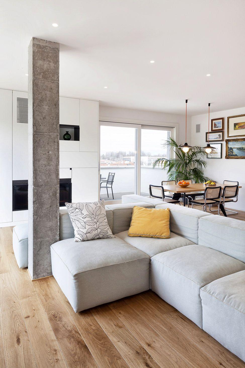 Grey Pillows Modern And Inspiring Interior Displaying Concrete Pillars By Studiomobile Modern Apartment Design Modern Apartment Decor Apartment Interior Design #pillar #in #living #room
