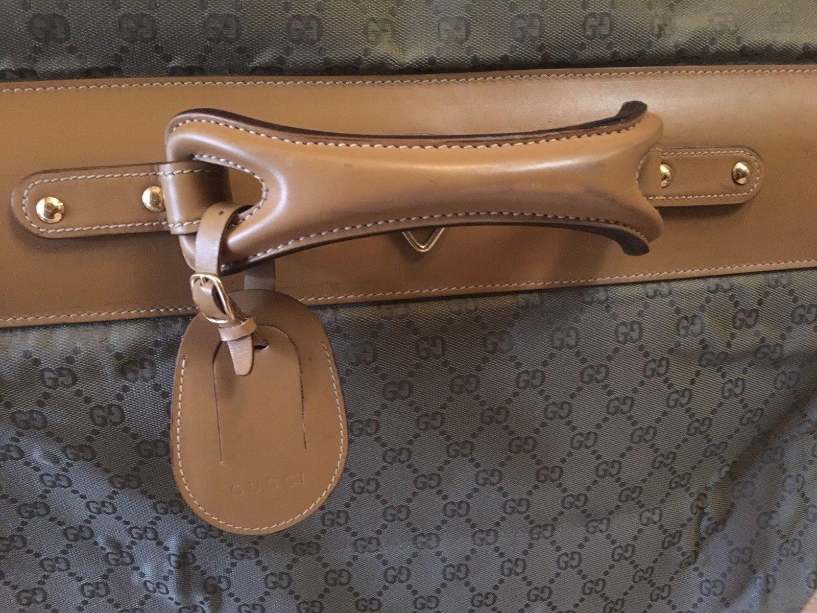 a3eab27eb Authentic Gucci Garment Bag Signature GG Monogram Canvas Brown Leather New  Strap | eBay