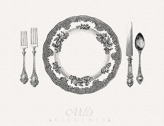 Printable Place Setting Dinner Plate Knife Fork By