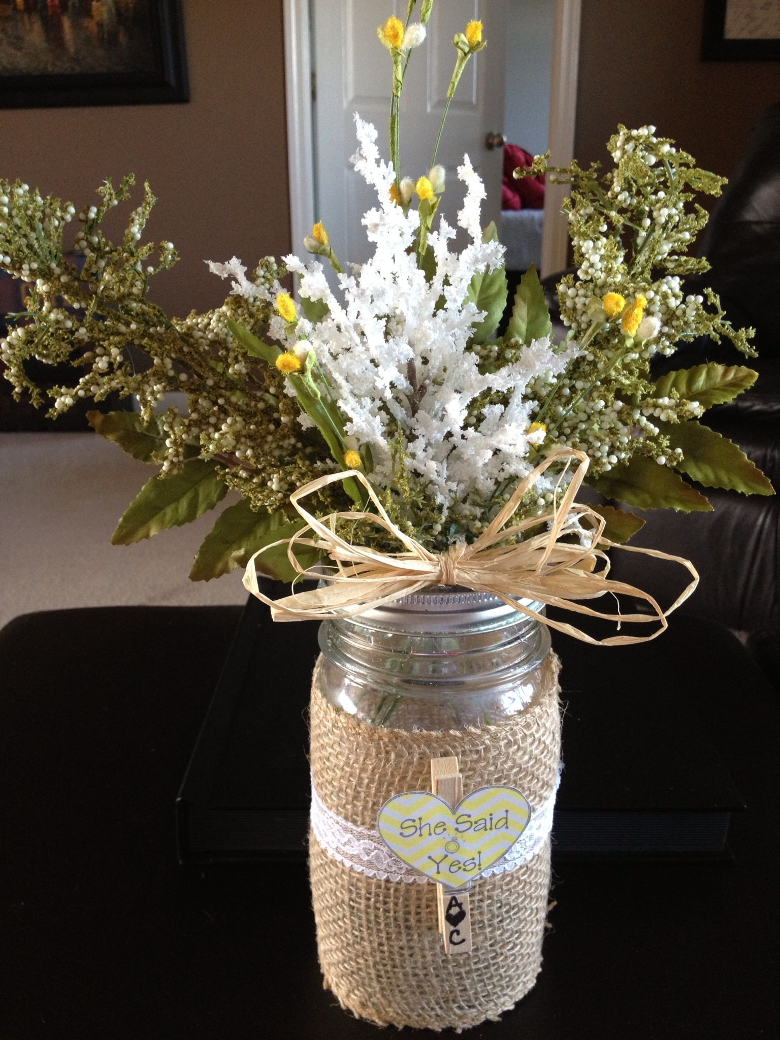 Burlap mason jar engagement party decor keslerkreations