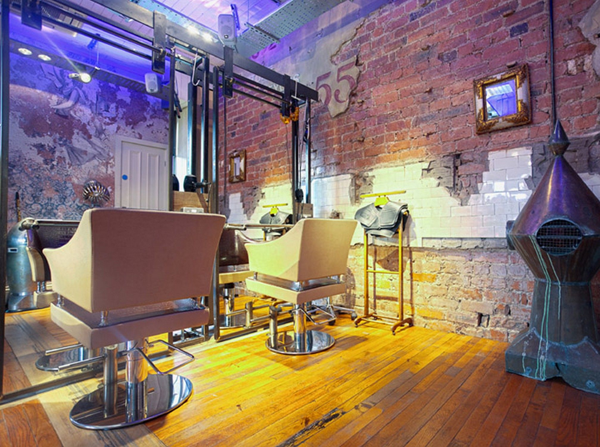 decorating retro hair salon design ideas with brick wall tiles and wood flooring ideas