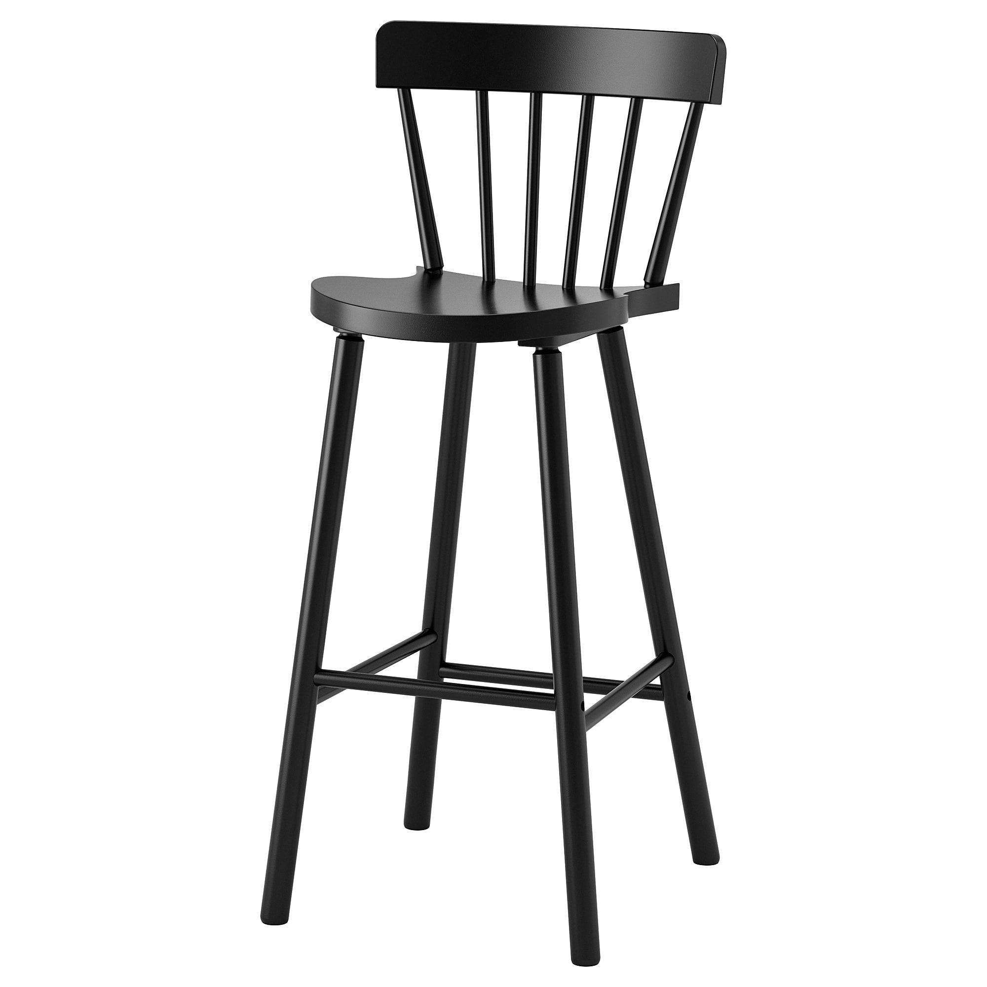 Stool Chair Norraryd Bar Stool With Backrest Black Home Things Bar Stool