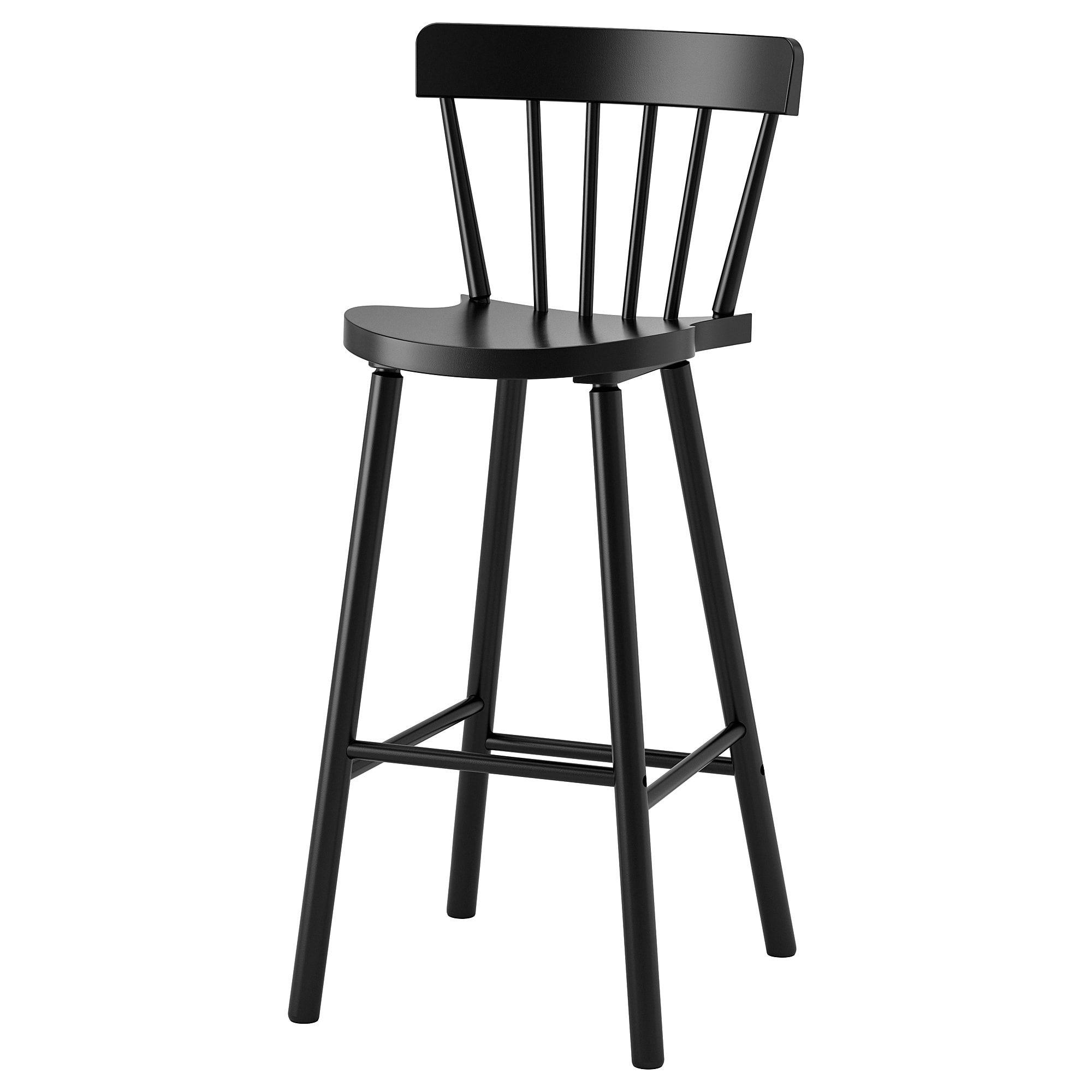 "NORRARYD Bar stool with backrest black 29 1/8 "" Bar"
