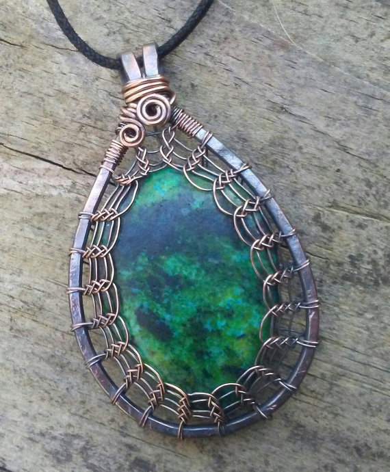 MADE TO ORDER Chrysocolla and Copper Viking Weave Pendant, Copper ...