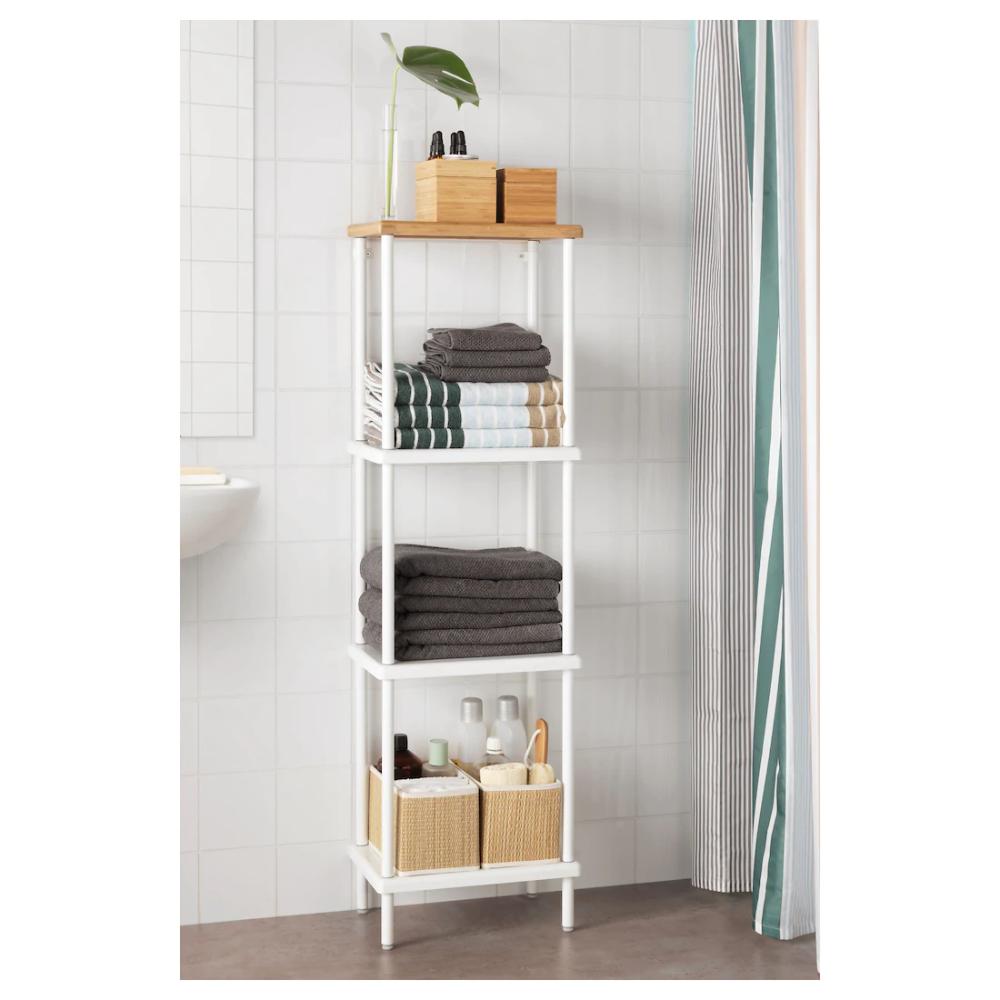 Dynan Etagere Blanc Motif Bambou Ikea Suisse In 2020 Shelving Unit Bathroom Shelf Unit Shelves