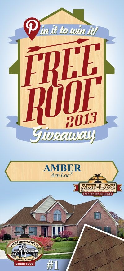 Re-pin this gorgeous Art-Loc Amber Shingle for your chance to win in the Sherriff-Goslin Pin It To Win It FREE ROOF Giveaway. Available in Sherriff-Goslin service area only. Re-pin weekly for more chances to win! | Stay Updated! Click the following link to receive contest updates. http://www.sherriffgoslin.com/repin Learn More about this shingle here: http://www.sherriffgoslin.com/tabbed.php?section_url=140