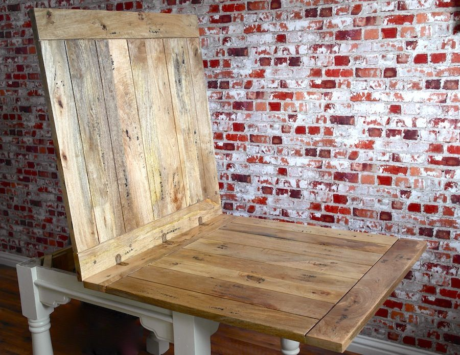Extending Rustic Farmhouse Dining Table Drop Leaf Natural Or