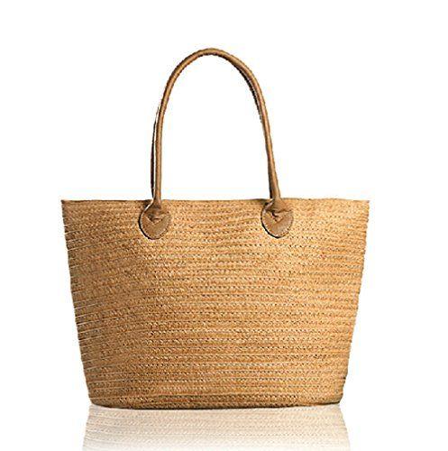 MATCHANT Wicker Woven Straw Beach Bucket Summer Fashion Vacation Women Top Handle Handbag Color : Beige