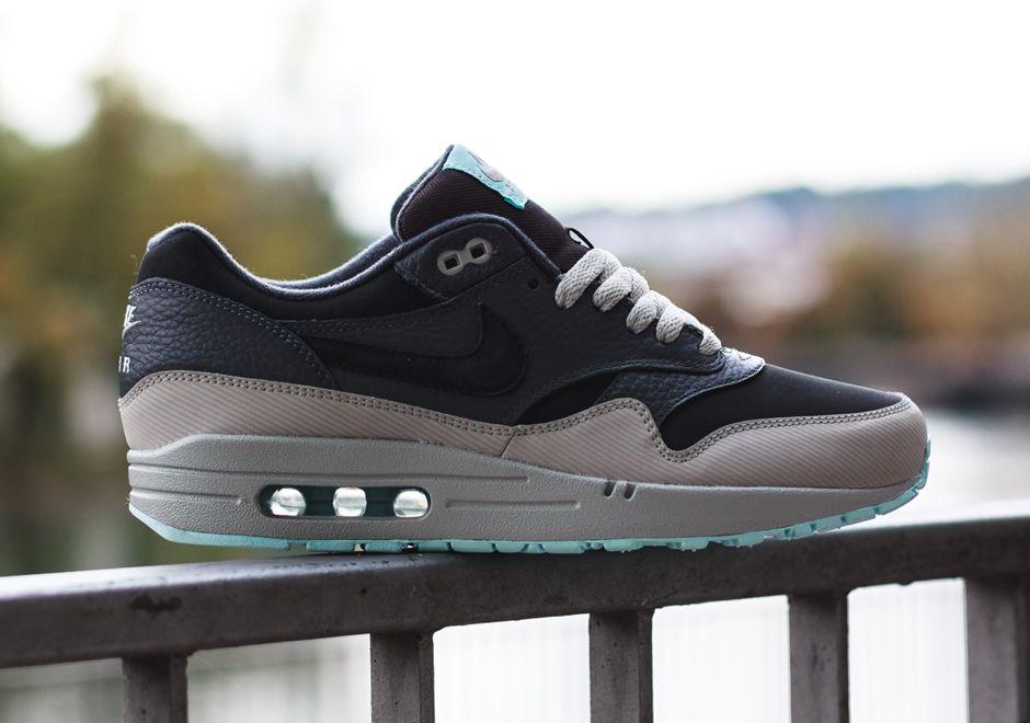 Nike Air Max 1 Leather Dark Ash Dark Grey Light Blue