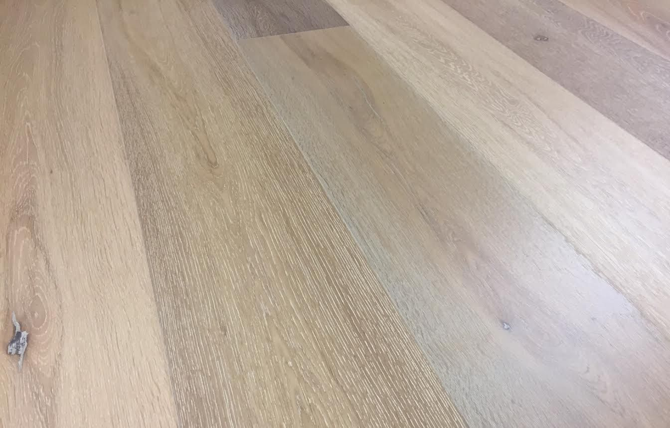 This White Washed Wood Flooring Is Part Of The European White Oak Collection By Bare Roots Har White Hardwood Floors White Oak Hardwood Floors Solid Oak Floors