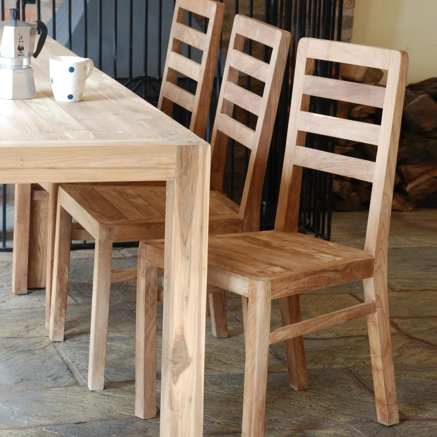 Superb Furniture, : Simple And Neat Reclaimed Teak Dining Table With Square Table  Legs, Minimalist Wooden Chair With Rails Back Rest On The Natural.